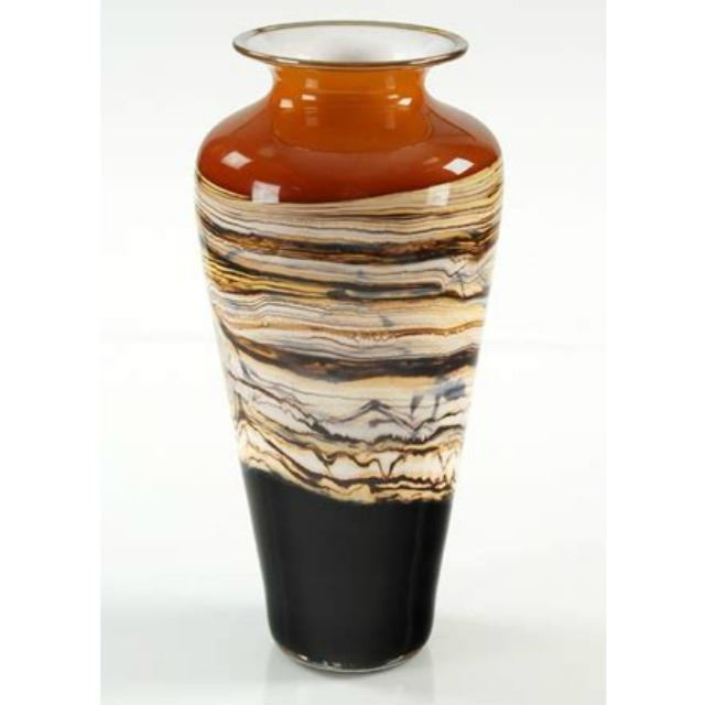 Picture of Blown Glass Vase | Tangerine Strata