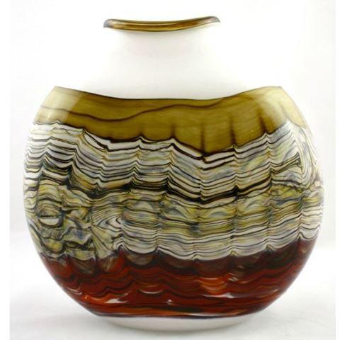 Blown Glass Flatten Vase | White Opal