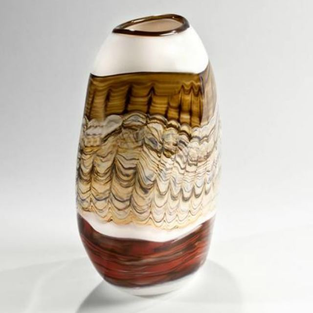 Picture of Blown Glass Flatten Vase   White Opal