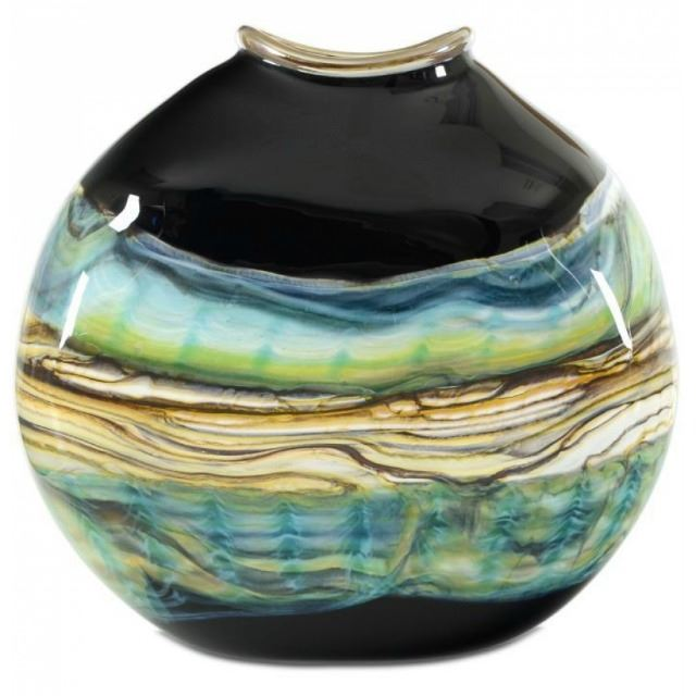 Picture of Blown Glass Flatten Vase | Black Opal