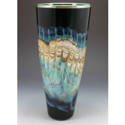 Picture of Blown Glass Cone Vase | Black Opal