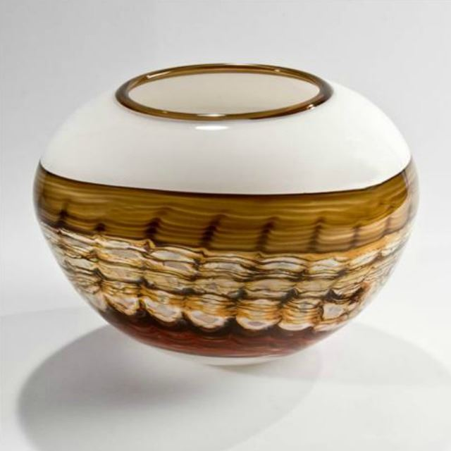 Picture of Blown Glass Vase   White Opal Sphere