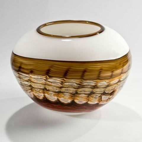 Blown Glass Vase | White Opal Sphere