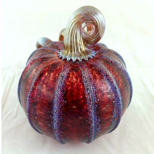 Picture of Frosted Cranberry Glass Pumpkin