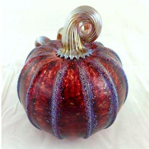 Frosted Cranberry Glass Pumpkin