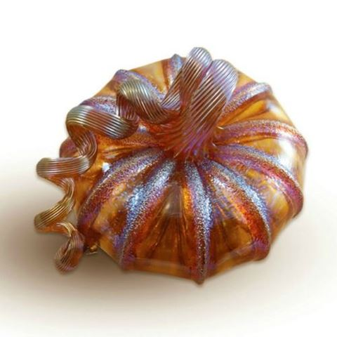 Frosted Harvest Glass Pumpkin