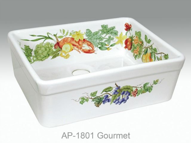 Picture of Gourmet Design on Single Bowl Fireclay Kitchen Sink