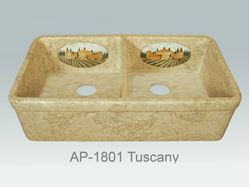 Picture of Tuscany Design on Double Well Fireclay Farmhouse Sink