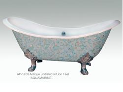 Aquamarine Design on Antique Ceramic Bath Tub