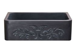 "Picture of 33"" Black Lava Single Well Carved Farmhouse Sink"