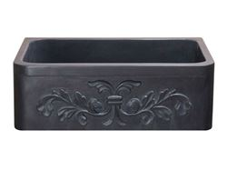 "30"" Black Lava Farmhouse Sink with Carved Front"
