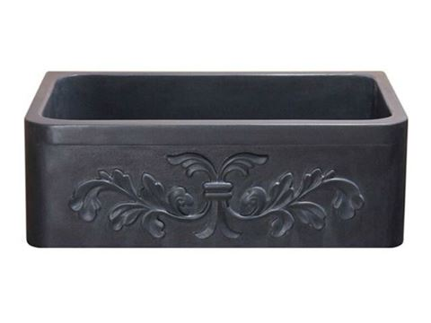 """30"""" Black Lava Farmhouse Sink with Carved Front"""