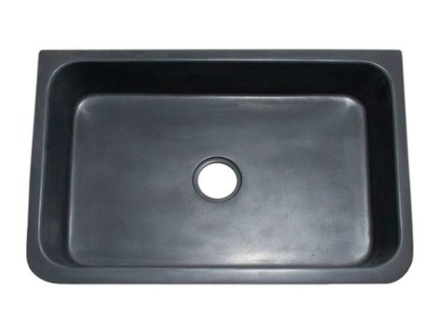 """Picture of 30"""" Black Lava Farmhouse Sink with Carved Front"""