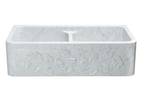 """36"""" White Marble Double-Well Farmhouse Sink with Carved Front"""