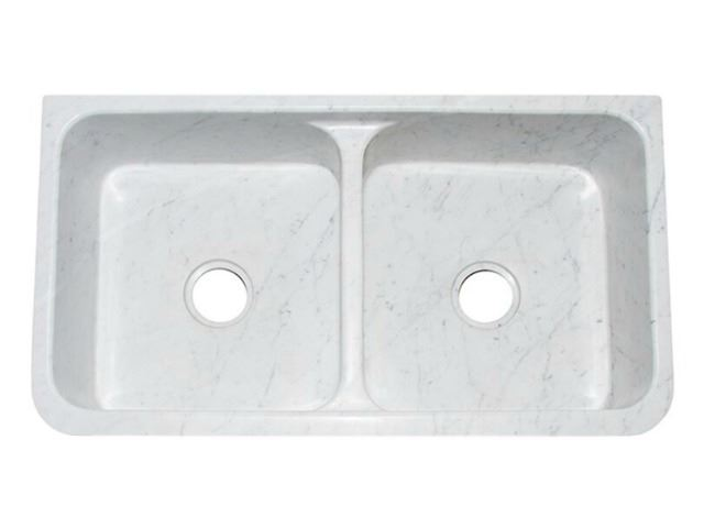 """Picture of 36"""" White Marble Double-Well Farmhouse Sink with Carved Front"""