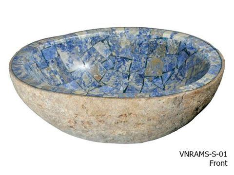 Granite Boulder Bath Sink with Blue Sodalite Mosaic