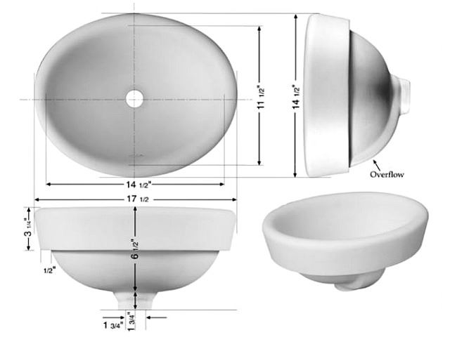 "Picture of Marzi 17"" Oval Half-Exposed Drop-in Ceramic Sink"