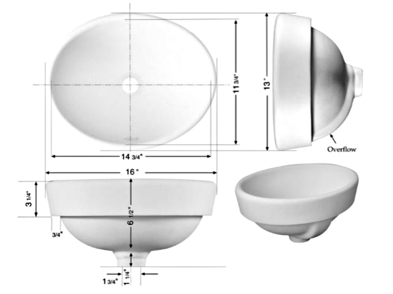 "Picture of Marzi 16"" Oval Half-Exposed Drop-in Ceramic Sink"