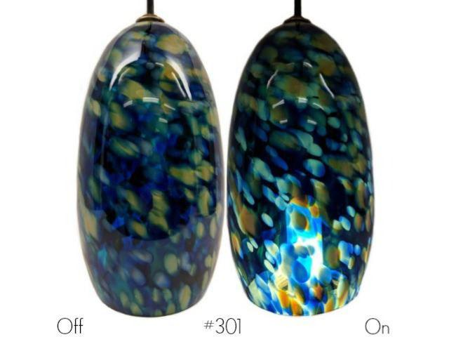 Picture of Blown Glass Pendant Light | Blue Leopard