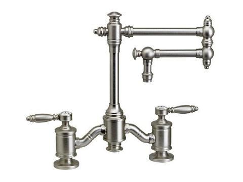 "Waterstone Towson 12"" Articulated Spout Bridge Kitchen Faucet - Lever Handles"