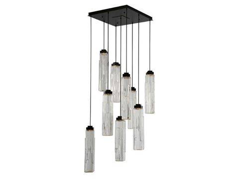 Ledgestone Square Multi-Port Pendant Chandelier 9 pc