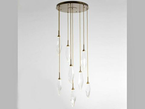 Rock Crystal Round Multi-Port Pendant Chandelier 8 pc