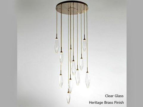 Rock Crystal Round Multi-Port Pendant Chandelier 11 pc