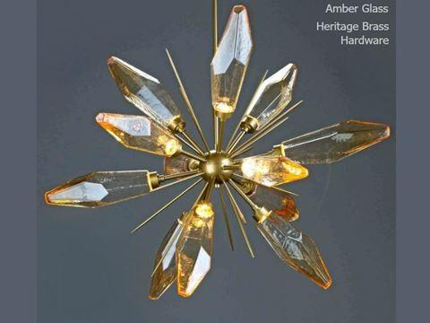 "Rock Crystal Starburst Chandelier 38"""