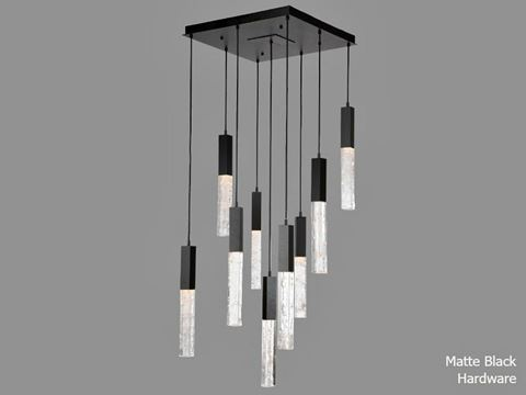 Axis Square Multi-Port Chandelier 9 pc