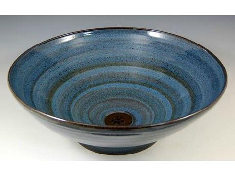 Delta Ceramic Vessel Sink in Vibrant Broken Blue