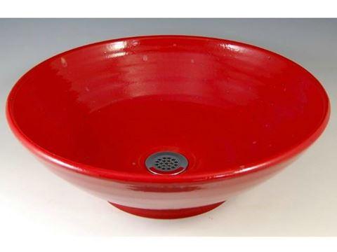 Delta Ceramic Vessel Sink in Torch Red