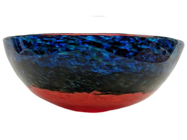 Blown Glass Sink   Blue Caliente III