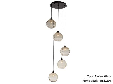 Terra Round Multi-Port Pendant Chandelier 5 pc