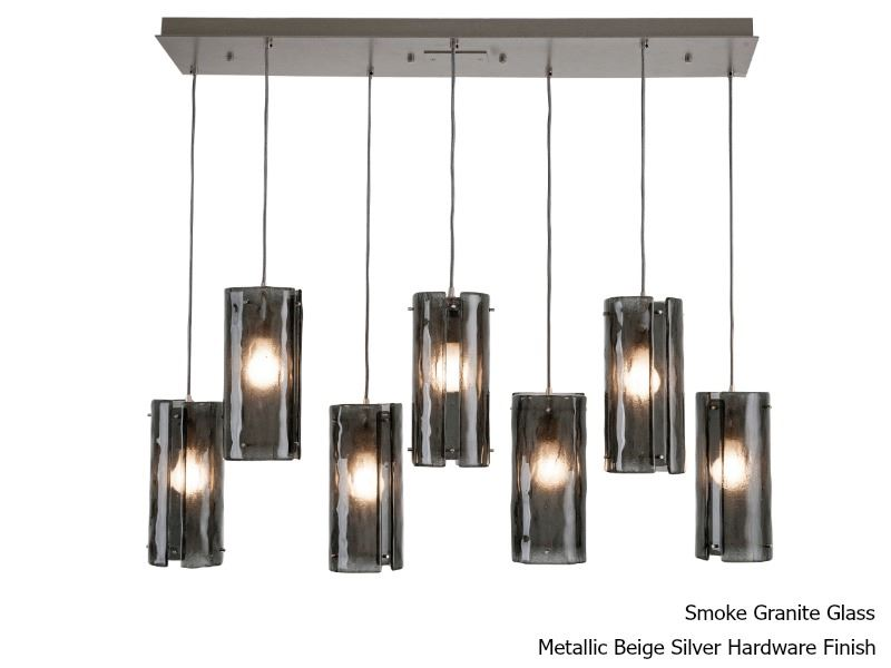 Picture of Linear Chandelier   Textured Glass   7 pc