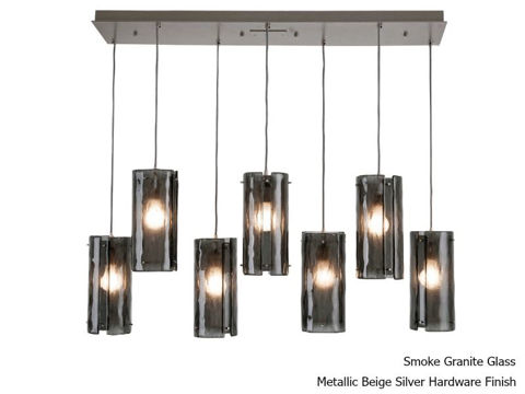 Linear Chandelier   Textured Glass   7 pc