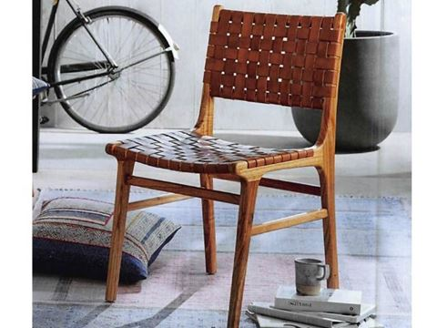 Padron Leather and Hardwood Dining Chair