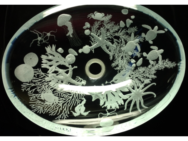 Picture of Sea Life Etched Glass Vessel Sink