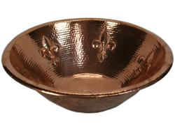 "Picture of 17"" Round Copper Bathroom Sink - Fleur de Lis by SoLuna"
