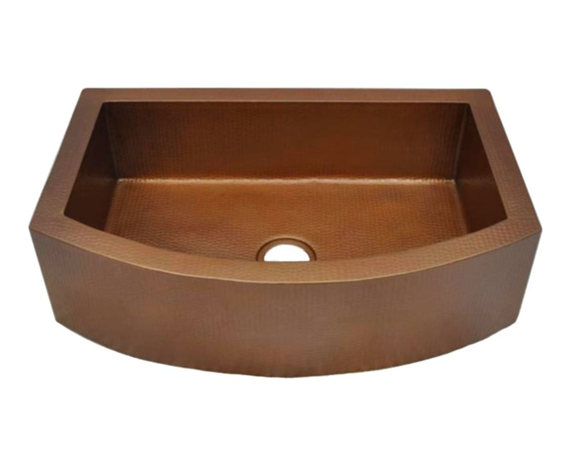 "Picture of 30"" Rounded Front Copper Farmhouse Sink by SoLuna"