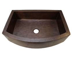 "36"" Round Front Copper Farmhouse Sink by SoLuna"