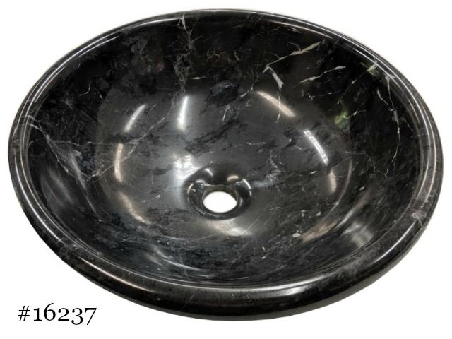 Picture of SoLuna Black Marble Bath Sink w/ Rolled Rim - Sale