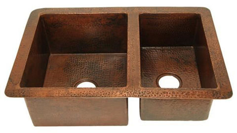 Double Well Copper Kitchen Sink - 60/40 by SoLuna