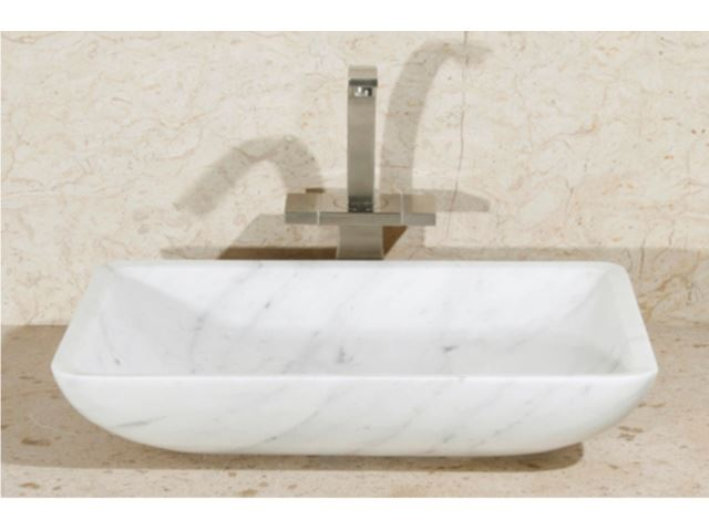 """Picture of 20"""" Rectangular Stone Vessel Sink with Rounded Walls"""