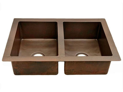Double Well Copper Kitchen Sink - 50/50 by SoLuna