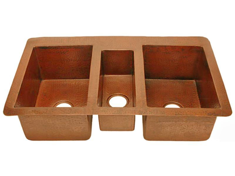"""Picture of 42"""" Triple Well Copper Kitchen Sink by SoLuna"""