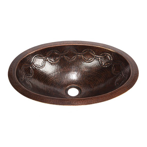 """Picture of 17"""" Oval Copper Bathroom Sink - Joining Rings by SoLuna"""