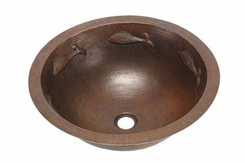 """17"""" Round Copper Bathroom Sink - Pescado with Rolled Rim by SoLuna"""