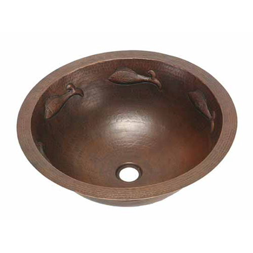 """Picture of 17"""" Round Copper Bathroom Sink - Pescado with Rolled Rim by SoLuna"""