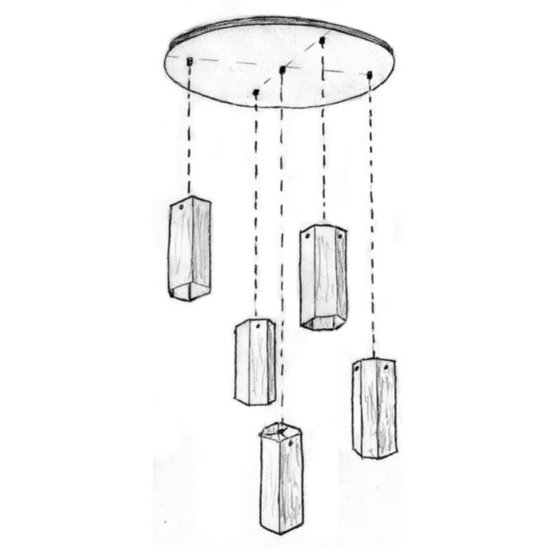 Picture of Selena Multi Port Glass Pendant Chandelier 5 Pc
