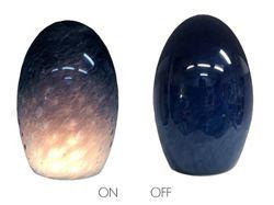 Picture of Blown Glass Pendant Light - Steel Blue Tiny Bubbles - Green Lip Wrap
